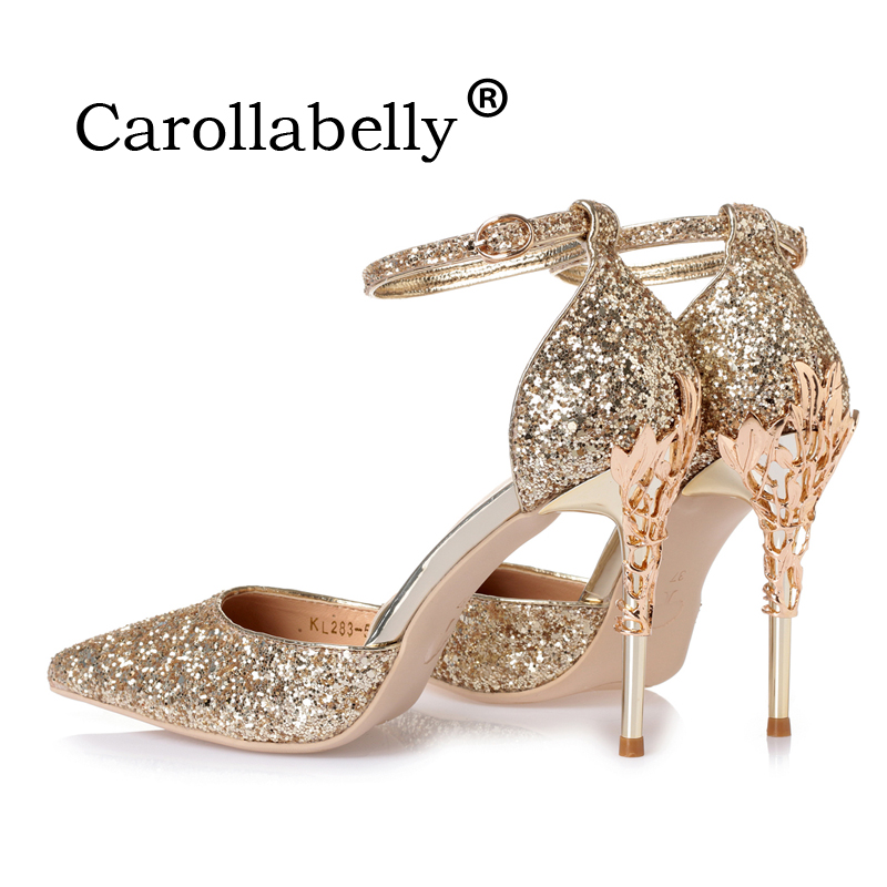 2018 New Sexy Mental Heel Women Shoes Sequins leather High Heels Women Pumps Flower Metal Heel Stiletto Wedding Party shoes
