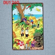 Tintin Cartoon Tin Signs  Metal Plate Wall Pub Kids Room Home Art Party Decor Vintage Iron Poster Cuadros DU-1260