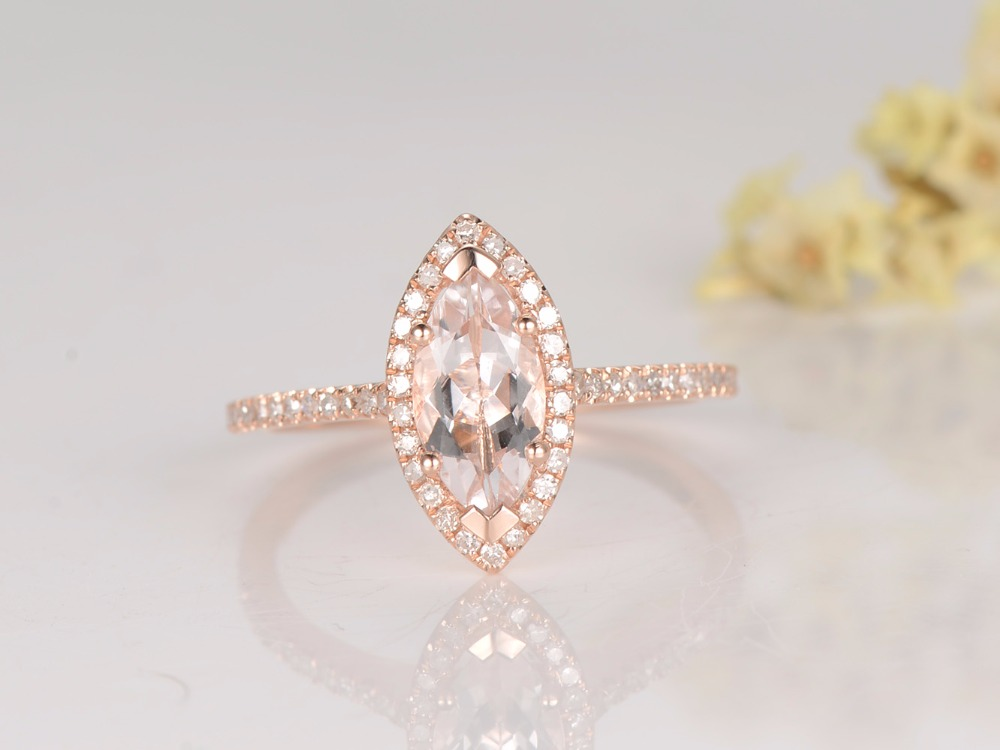 MYRAY Pink Morganite Engagement Ring,14K Rose Gold,10x5mm Marquise,Diamond Band,Bridal Wedding Ring,Gemstone Ring