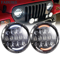 FADUIES Super Bright 12V 105W H4 7 Inch Led Headlight With White DRL Yellow Turn Signal