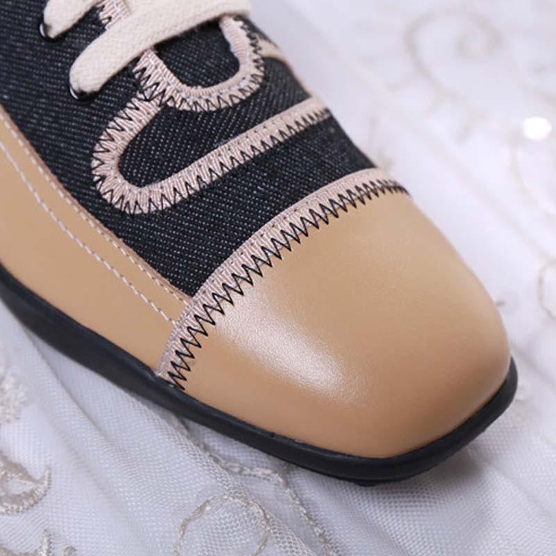 Véritable Fsj D'été Couture Suqare Femme Occasionnels automne Dames Chaussures Bureau En Up Vache fsj01 Cuir Fsj02 Carrière Toe Pompes Printemps Mature Dentelle 4drwd6q