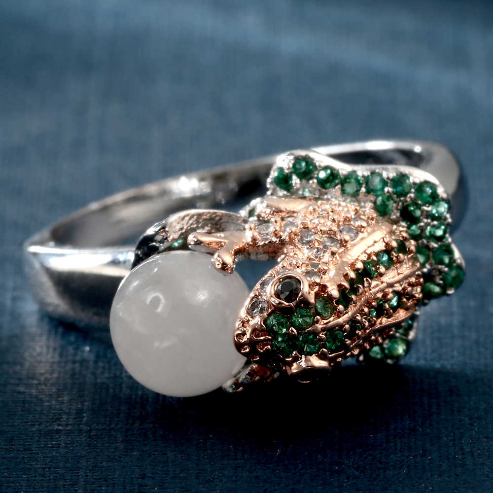 Hainon обручальные кольца серебряного цвета, ювелирные изделия, продвижение, хрустальная искусственная жемчужина, дизайн лягушки, кольца для женщин