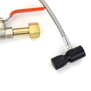 """Image 2 - YENI Paintball PCP Deluxe Çift Vana CO2 Dolum Istasyonu Adaptörü Ile 36 """"Paslanmaz Çelik örgülü hortum CGA320 ve W21.8 14 (DIN 477)"""