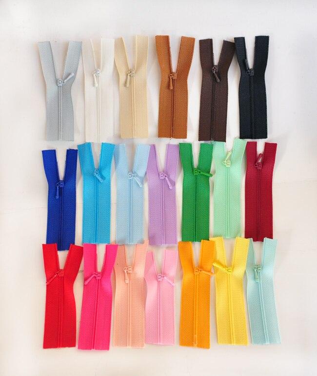 Nylon 20 couleurs résine longueur 7cm   Mini fermeture éclair pour poupée de bricolage, vêtements denfants, accessoires de vêtement appliqués