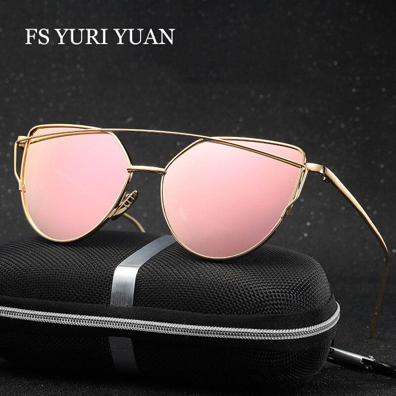 Moda cat eye sunglasses mujeres diseñador de la marca de doble haz espejo  lente Gafas de sol de Oro Rosa de Metal y Caja de gafas de sol feminino gafas  sol ... 3c86d24d9cd2