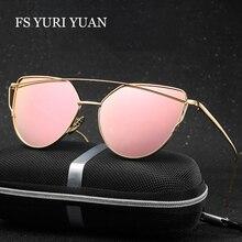 e0261199ba Moda cat eye sunglasses mujeres diseñador de la marca de doble haz espejo  lente Gafas de sol de Oro Rosa de Metal y Caja de gafa.