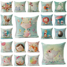 WZH Spring cute animal Cushion Cover 45x45cm Linen Decorative Pillow Cover Sofa Bed Pillow Case(China)
