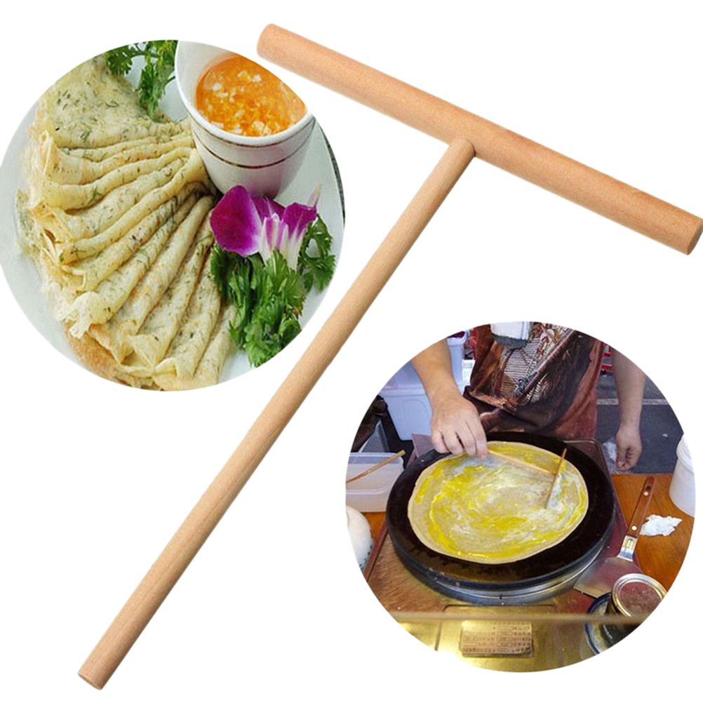 1 Pcs T Shape Crepe Maker Pancake Batter Wooden Spreader Stick Home Kitchen Tool title=
