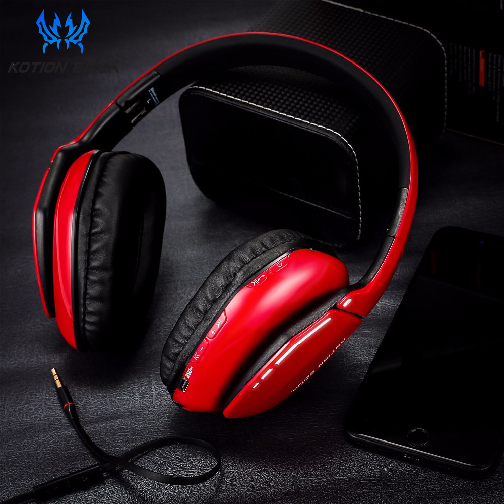 KOTION EACH B3506 Noise Isolation Bluetooth 4.1 Stereo gaming Headphone Foldable Wireless Music Headset with Mic 3.5mm for Phone archeer ah07 bluetooth foldable headphone wireless stereo headphone with mic soft ear cups adjustable headset 100