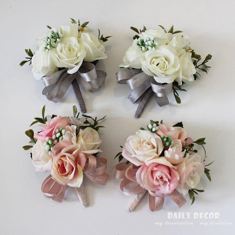 Bridal Wedding Bride Wrist Rose Flower Bouquet Artificial Bridesmaid