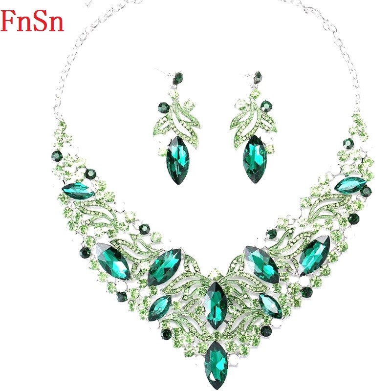 Fnsn Hot New Jewelry Sets Fashion Crystal Chokers Necklace Set Colorful Rhinestone Wedding Gift For Women Brides Prom Party S167 vintage layered rhinestone flower lace chokers necklace for women