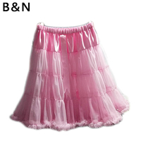 B&N Custom 65cm long 2 layers Tulle no Lining Fluffy Soft Women Tulle Skirt Sexy Pleated Chiffon Petticoat Lady Tutu Pettiskirt