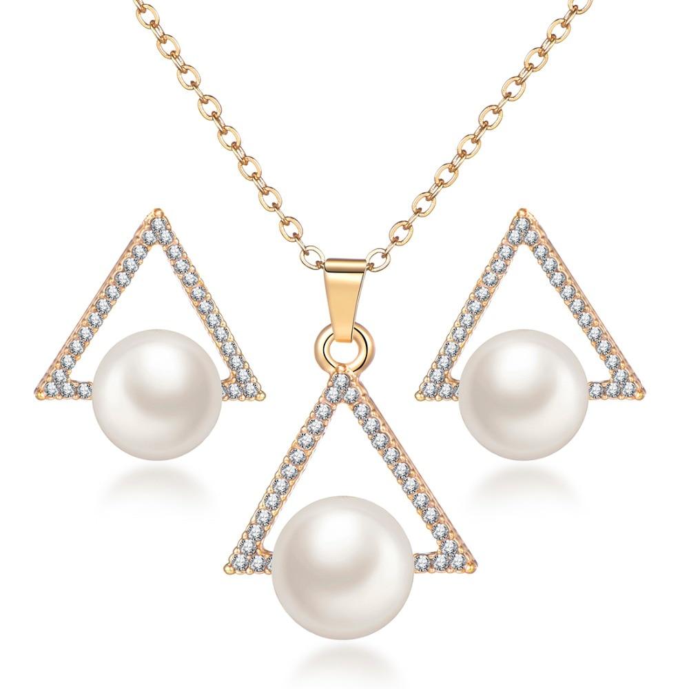 Цвет золотистый модные Геометрическая Имитация жемчужные украшения комплекты для свадьбы Длинная цепочка ожерелье с серьги-гвоздики ASOS