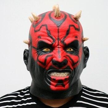Máscara de látex de Star Wars, película Darth Maul, máscara de cabeza completa de miedo, Horror, Halloween, máscara de cabeza para disfraz, fiesta, vestido de fantasía