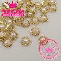 2015 Notícias 20 pçs/lote 10*10mm rodada liga de ouro da arte do prego com quatro diamantes decorações da arte do prego 3D encantos jóias decorações de unhas