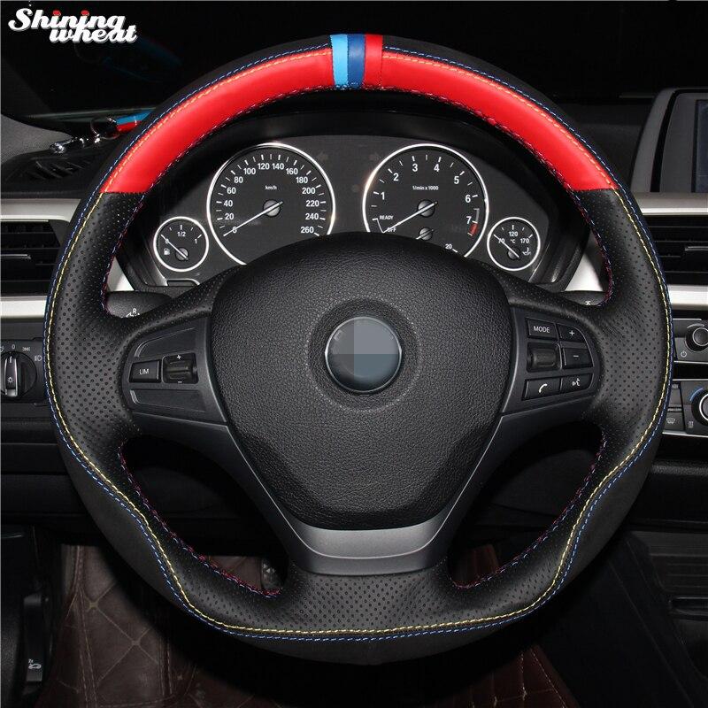 Brillant blé cousu Main Rouge Noir Cuir Daim Noir Couverture De Volant de Voiture pour BMW F30 316i 320i 328i