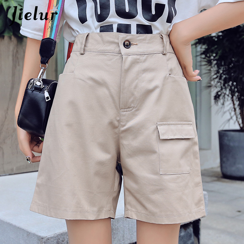 Jielur Summer Shorts High-Waist Woman Ladies Cool Simple Harajuku Pockets Solid Damskie