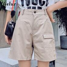 Jielur Shorts Woman Pockets Solid Color High Waist Ladies Short Simple Harajuku Cool M-5XL Spodenki Damskie 2019 Summer Shorts