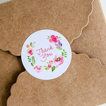 New Arrival 100pcs 3.5cm Flower Design Sticker Labels For Creative Paper Stickers Thank You Seals For Gifts jwhcj creative arts font thank you
