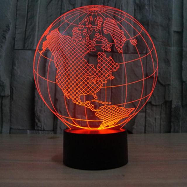 America / Europe Globe 3D Light Colorful Lights Visual Perspective Fashion Modeling Lamp Globes