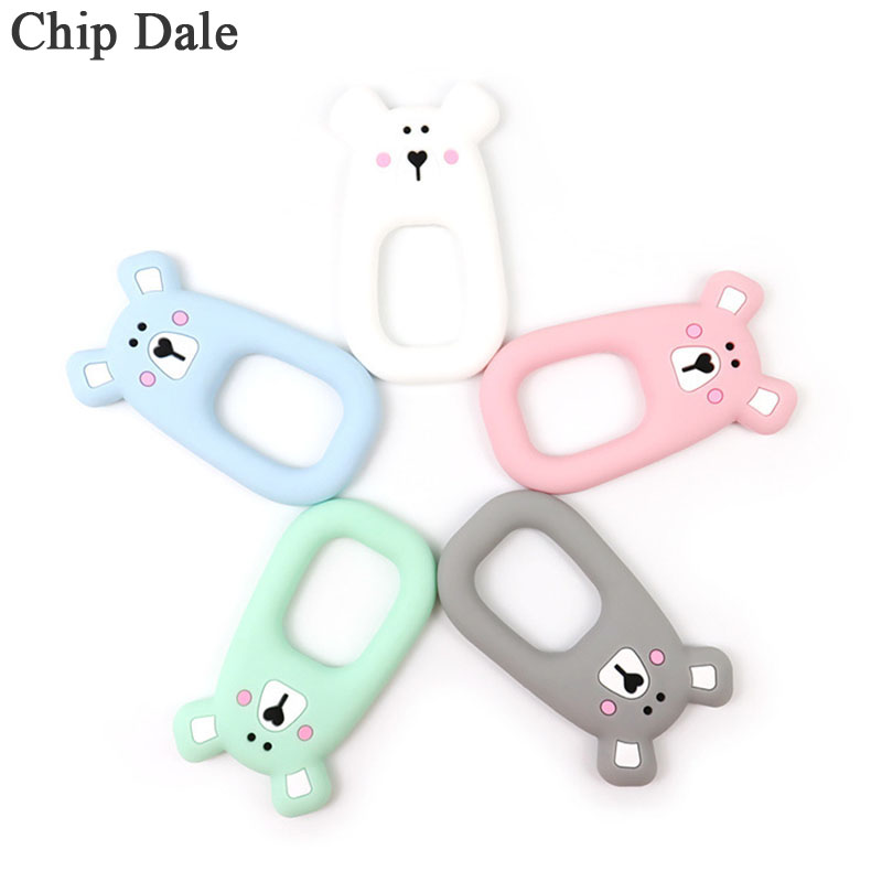 Chip Dale 5pcs Baby Mouse Silicone Teether BPA Free Cute Animal DIY Ring Teethers Toddler Kids Chew Charms Teething Nuring Toy