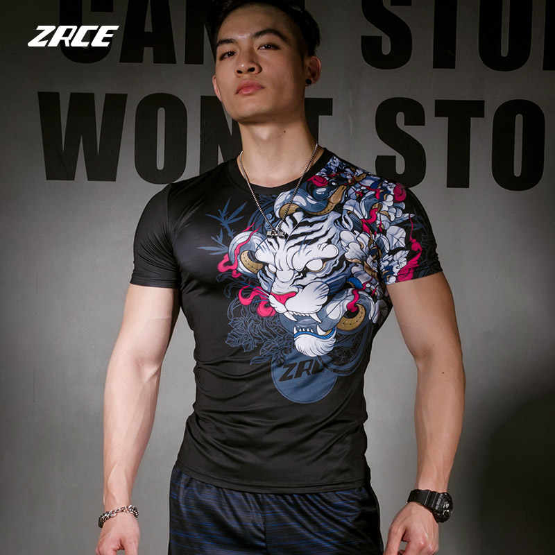 ZRCE Men 3D White Tiger Fitness anti-coloring anti-deformation S-2XL Fitness Men's Swimming compression short sleeve t-shirt