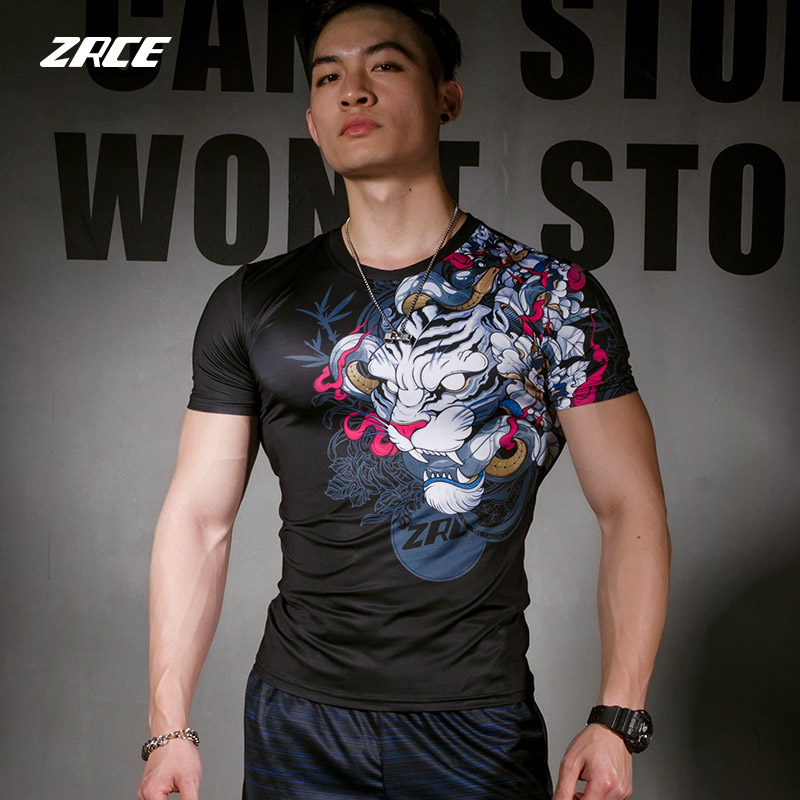 ZRCE Men 3D White Tiger Fitness anti-coloring anti-deformation S-2XL Mens Swimming compression short sleeve t-shirt