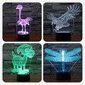 Encantador Pequeño Perro 3D Libélula de Avestruz Águila Lámpara de Noche LED Alimentación USB Lámpara de Escritorio Táctil Botton Decoración para el Hogar de Cumpleaños regalos