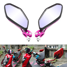 Motorcycle Side Rearview Mirror Red Purple Flame Cafe Racer Electric Car Rear View for