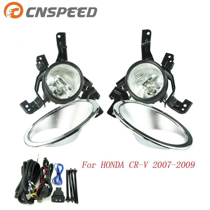 CNSPEED Fog light for HONDA CRV CR-V 2007 2008 2009 fog lamps Clear Lens Bumper Fog Lights Driving Lamps  YC100586-CL car bifocal fog lens for honda cr v accord taiwan product front bumper lights high quality free shipping
