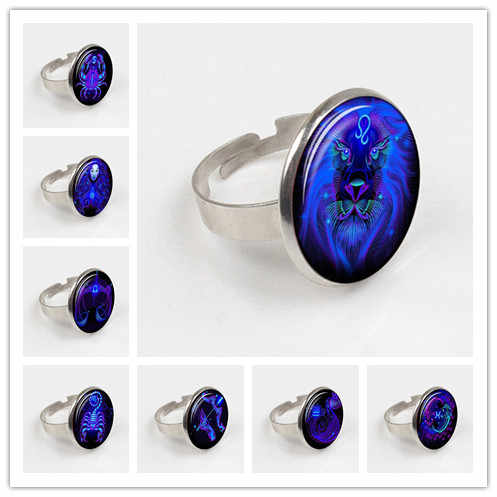 2019 Hot Sale Fashion 12 Zodiac Sign Glass ring Constellation Horoscope Astrology Black ring for Women Men ring