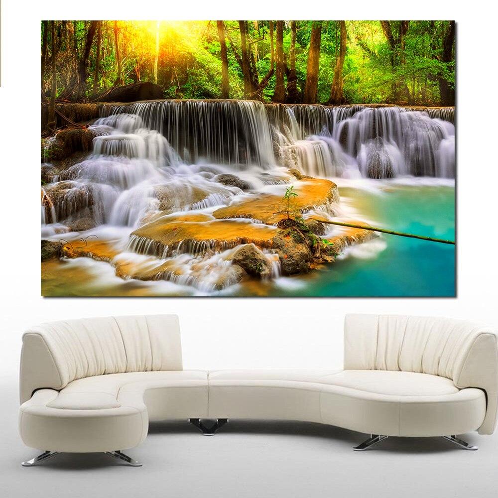 JQHYART Druck Wand Landschaft Ölgemälde Creek Steine Cascades Fluss Wand Kunst Bild Für Wohnzimmer Wohnkultur Keine Rahmen