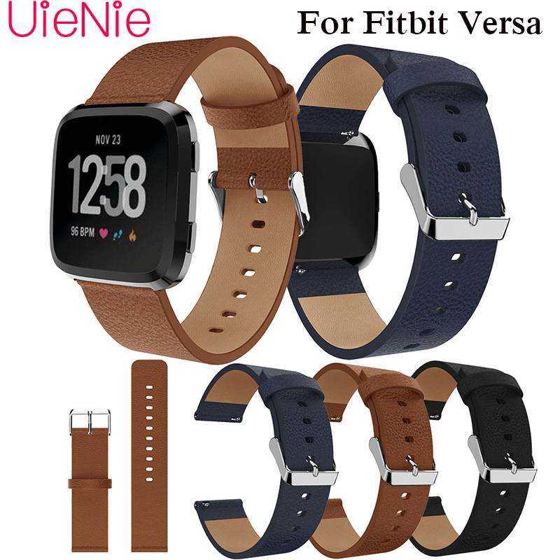 Luxury leather replacement wristband for Fitbit Versa smart watch strap bracelet replace business band accessories