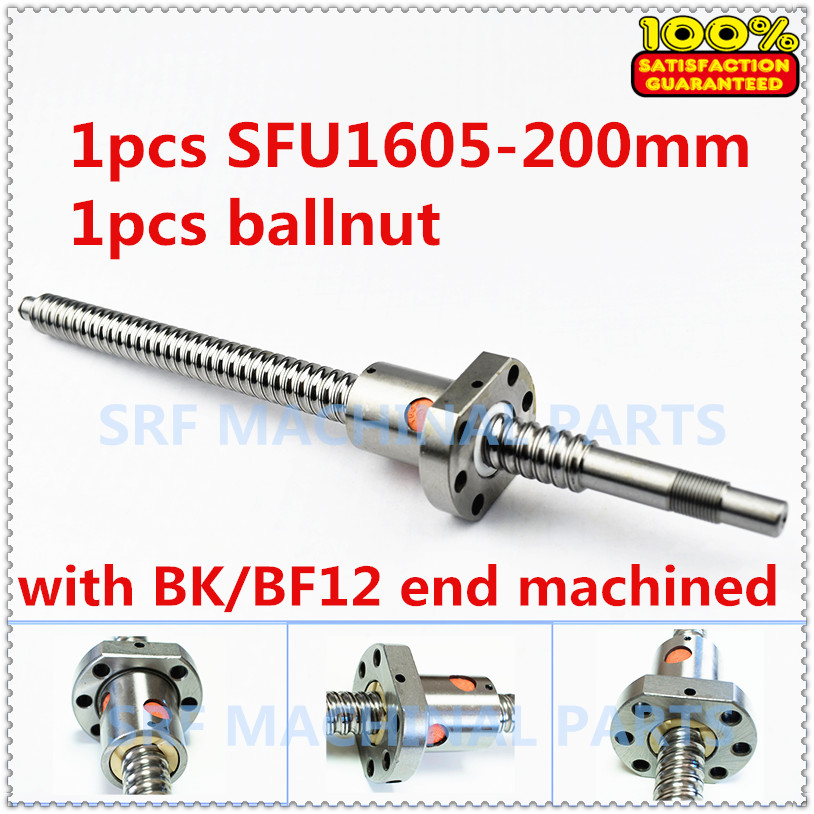 16mm Diam SFU1605 ballscrew set : RM1605-L200mm C7 Rolled Ball Screw 1pc+1pcs single ball nut with BK/BF12 end machined ballscrew sfu1610 l200mm ball screws with ballnut diameter 16mm lead 10mm