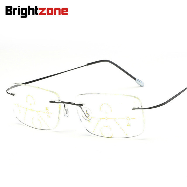 Brightzone Rimless Hingeless See Far And Near One Reading Multi-focus Presbyopic Progressive Eye Glasses Gafas De Lectura Oculos