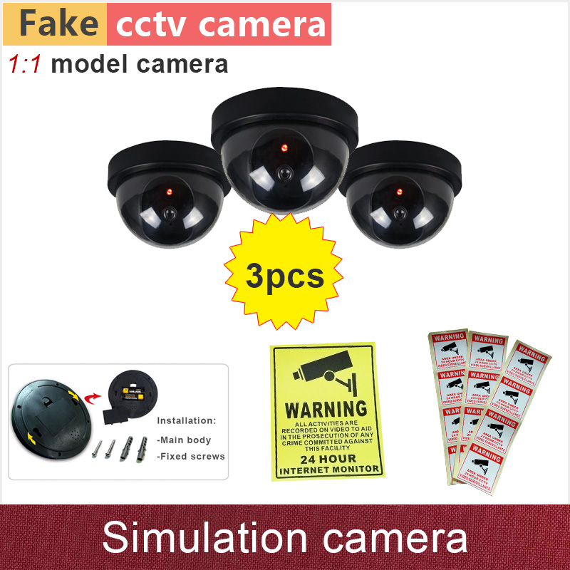 3pcs Fake camera simulation dummy cctv cameras security cam with flash blinking warning LED lamp ABS