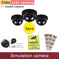 3pcs# Fake camera simulation dummy cctv cameras security cam with flash blinking warning LED lamp ABS plastic dome GANVIS S01