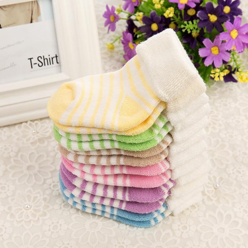 Newborn Cotton Baby Socks Soft Floor Wear Meias Boys Girls Cute Striped Baby Spring Autumn Toddler Socks Infant Socks Sokken