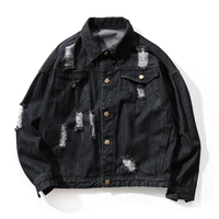 Spring Autumn Men's Thin Section Loose Hole Denim Jackets , Fashion Solid Color Hip hop Style Large Size Wash Comfortable Jacket