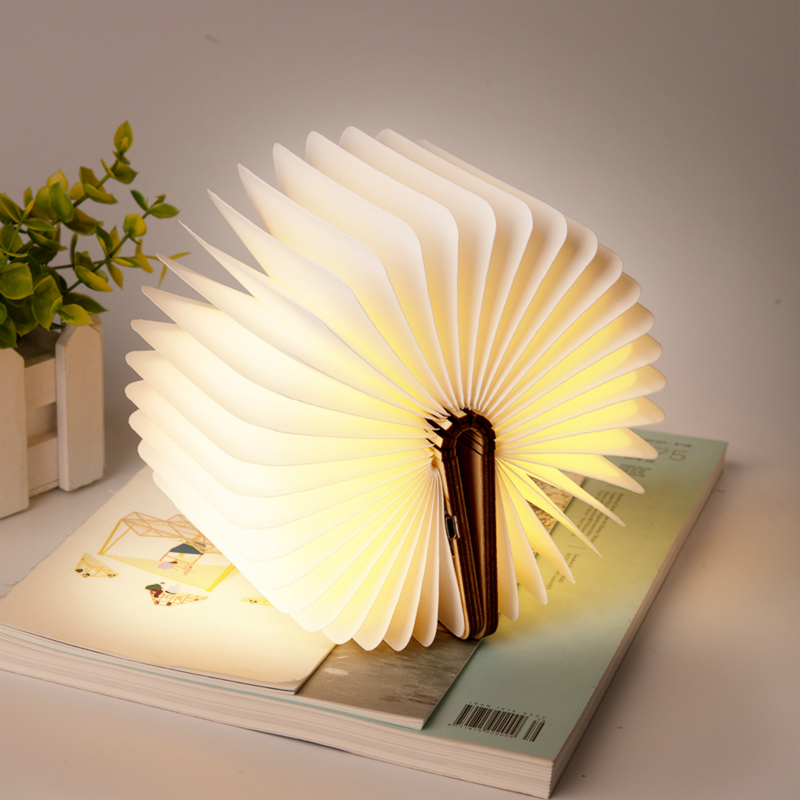 Hot New Portable USB Rechargeable LED Magnetic Folding Wooden Book Light Book Shape Lamp Night Light Creative Gift Book Lamp