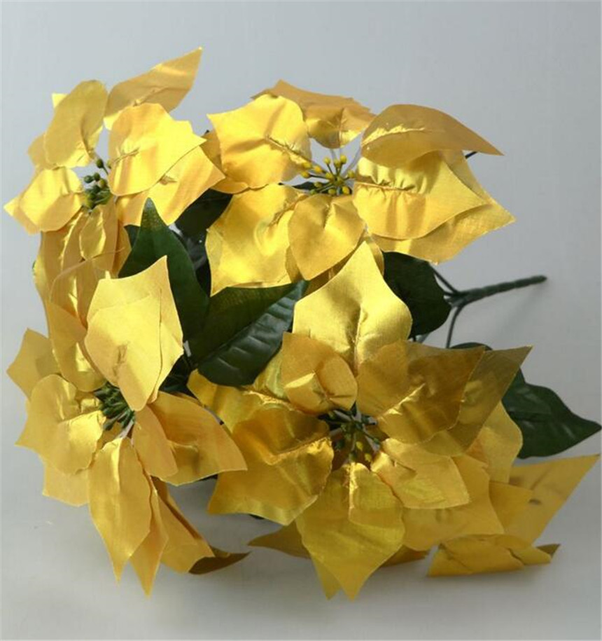 6 adet Yapay Poinsettia Noel Çiçek 48 cm kırmızı / altın / - Tatiller ve Partiler Için - Fotoğraf 3