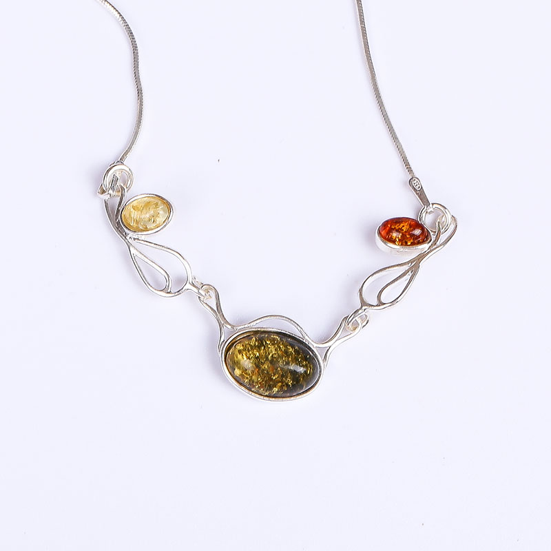 цены Real amber necklace Necklace 925 sterling silver Natural real amber Fine jewelry Delivery of clavicular necklace