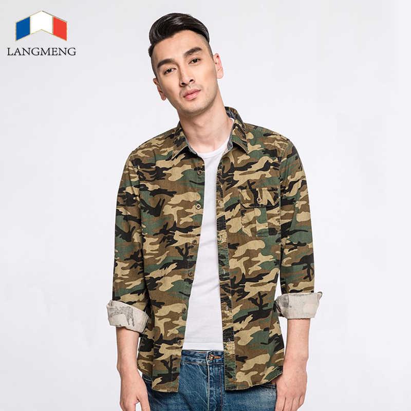 Langmeng 綿 100% 迷彩シャツ男性通気性陸軍戦闘カジュアルシャツ生き抜く軍事迷彩服名菜メンズシャツ