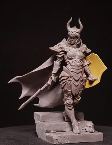 New Resin Kits Warrior Woman With Base Figures 1pc