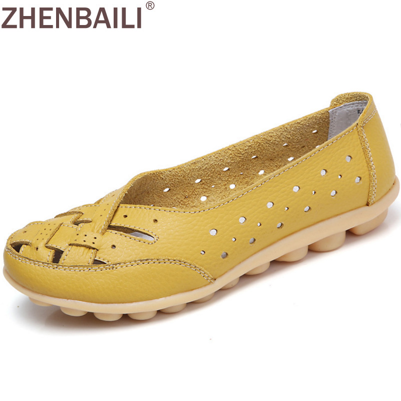Summer Hollow Breathable Weave Women Flat Shoes 2017 Autumn Fashion Genuine Leather Soft Massage Peas Shoes Casual Slip-on Flats new summer breathable men genuine leather casual shoes slip on fashion handmade shoes man soft comfortable flats lb b0009