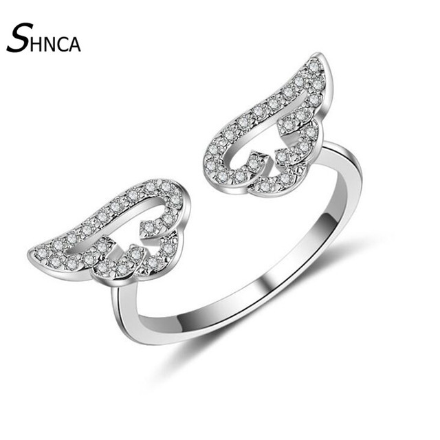 Classic Trendy Boutique 925 Sterling Silver Angel Wings Adjustable Rings For Wom