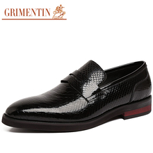 GRIMENTIN Italian brand vintage genuine leather Men's Dress Shoes Casual slip on party fashion male shoes mens Flats