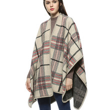 Luxury Brand Woman Tartan Poncho Capes Plaid Knitted Blanket Scarf Echarpe Hiver Femme Cardigans Vintage Winter Knitting Poncho