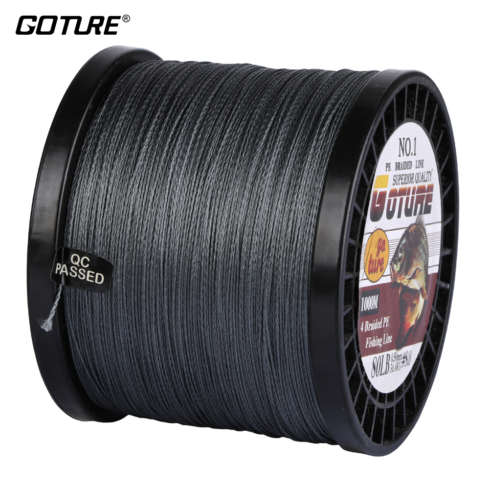 Goture 1000M PE Braided Fishing Line Multifilament Line 4 Stands Line 16 20 23 27 31 37 40 42 45 47 50 65 80LB fighter brand 100m multifilament pe braided fishing line 4 stands 8 60lb fishing line