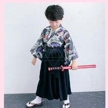 5c9a4a9a7fe8c تأثيري كيمونو الاطفال الطفل اليابانية الأطفال الملابس هالوين اليابانية  السامرائي الأطفال الصبي كيمونو مراهقون البشكير معطف Y596